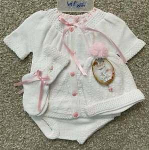Will'beth Sweet Newborn Baby Girl White/Pink Knit Set Booties Hat Sz0 Dolls