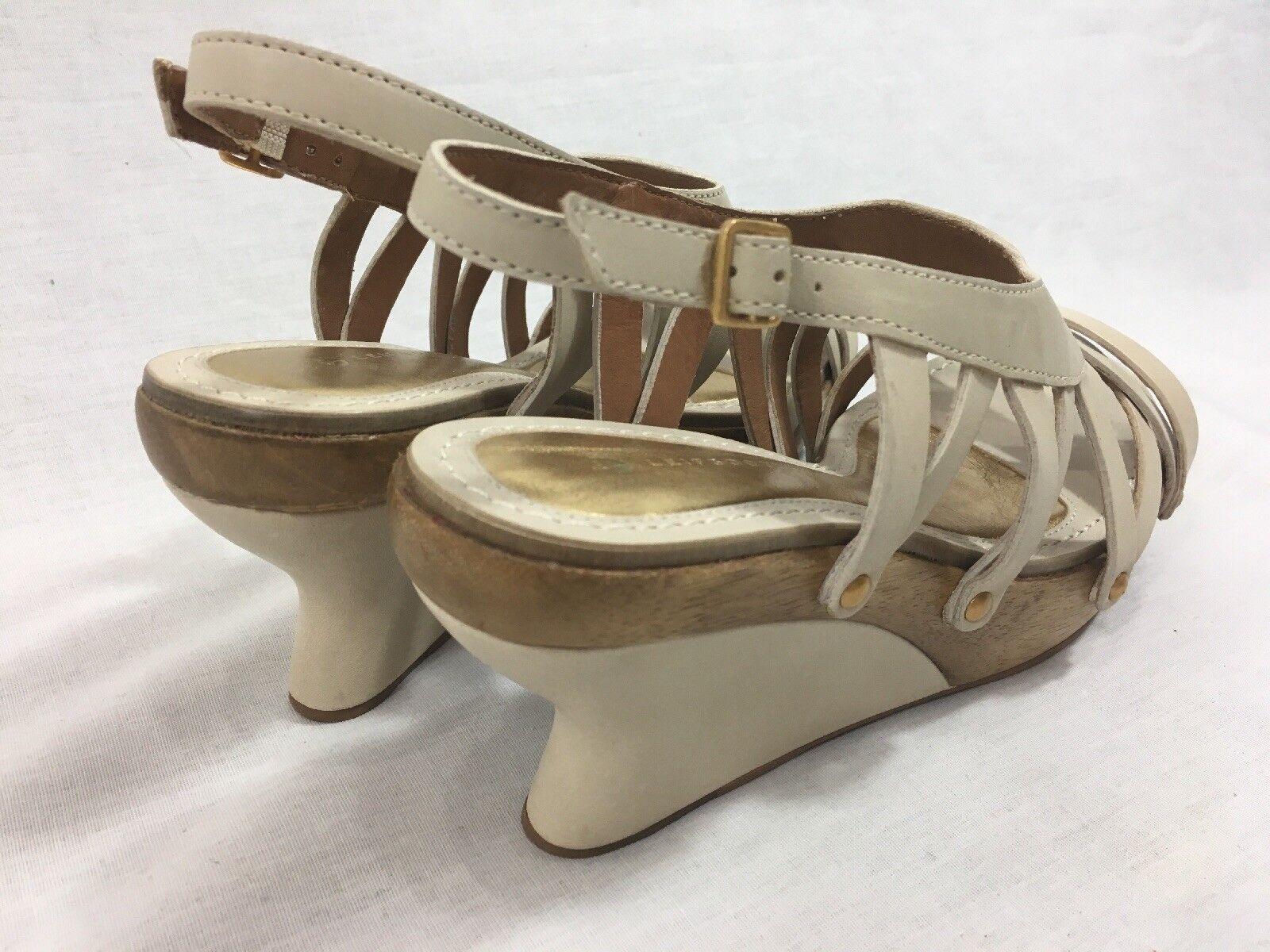 NEW Anthropologie Leifsdottir Oiva Leder Damenschuhe Stucco Wedge Sandales Wedge Stucco Heel Nude 9951f4