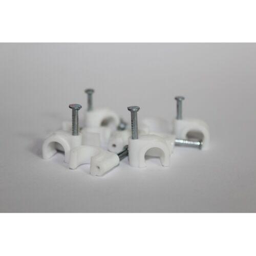 8 oder 10 Kabelschellen Nagelschellen mit Nagel 6 7 8 mm weiß