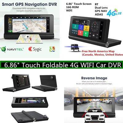"1080P Foldable 6.86""Touch 4G Car DVR GPS Navigator WIFI Bluetooth Video Recorder"