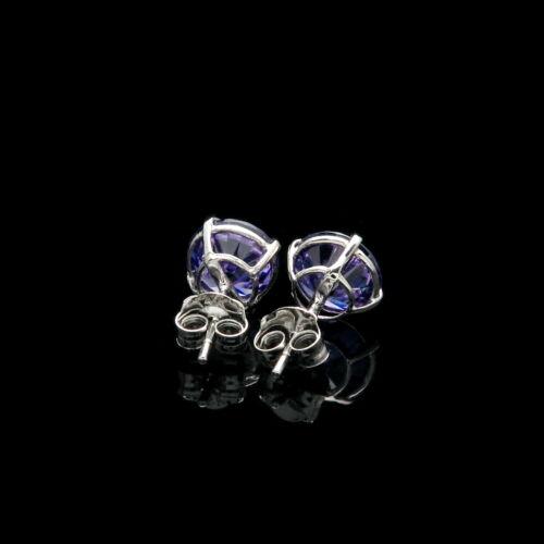 1 Ct Créé Violet Améthyste Boucles D/'Oreilles 14K réel Or Blanc Rond Solitaire Goujons