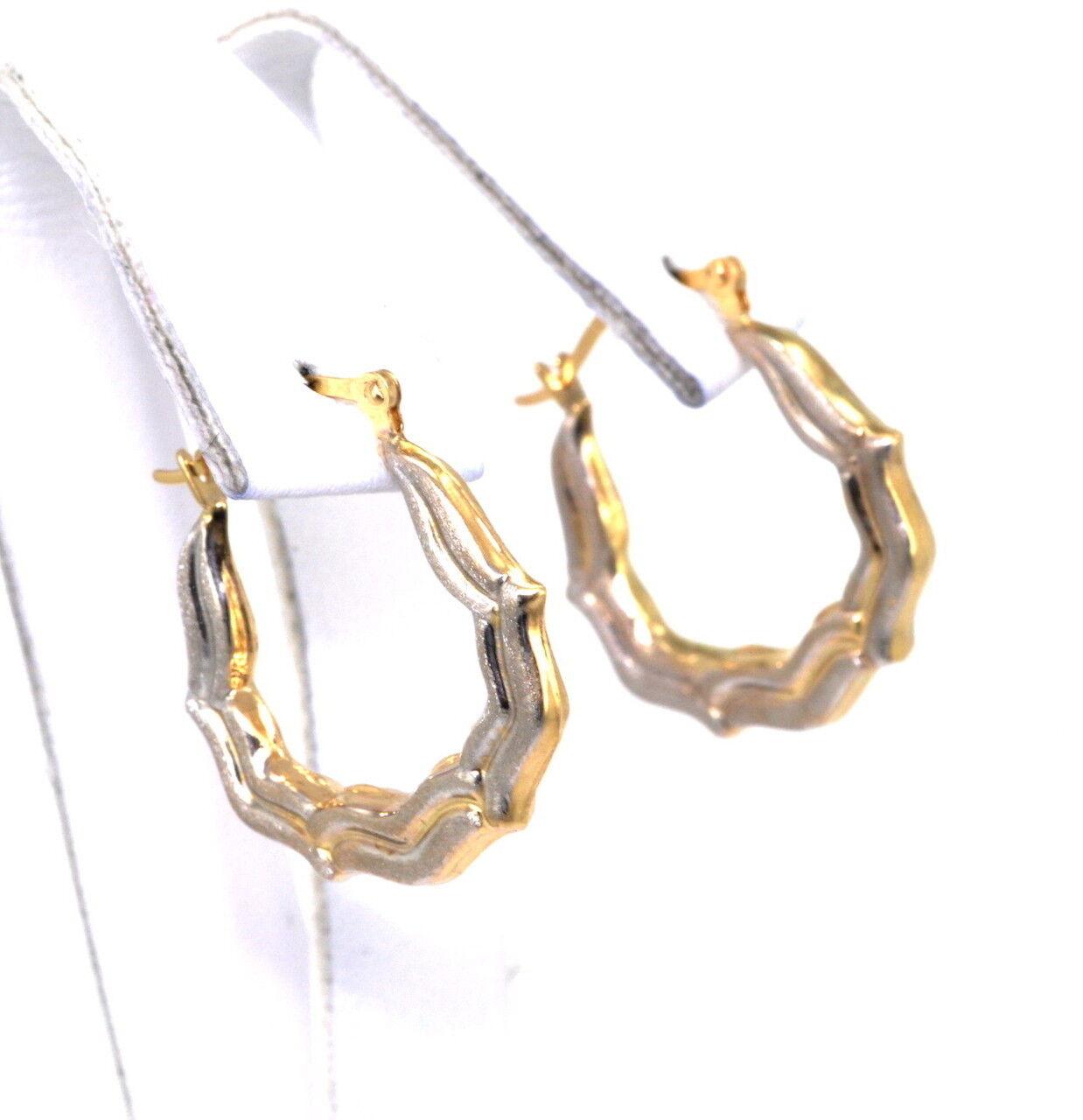 14K Two Tone Diamond Cut gold Hoop Earrings 40001864-E