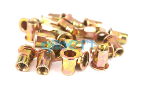20Pcs M4 M5 M6 M8*1.25 M10*1.5 Hex Flange Zinc Plated Steel Nutsert Hexsert Nut