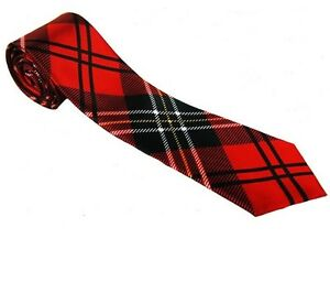 TARTAN RED NECK TIE FOR SCOTISH THEME FANCY DRESS