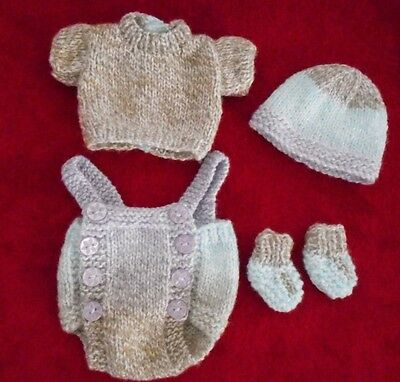 """Doll Clothes Hand-knit Vintage Style Pastels Set Fits 12"""" to 14"""" Baby Dolls"""