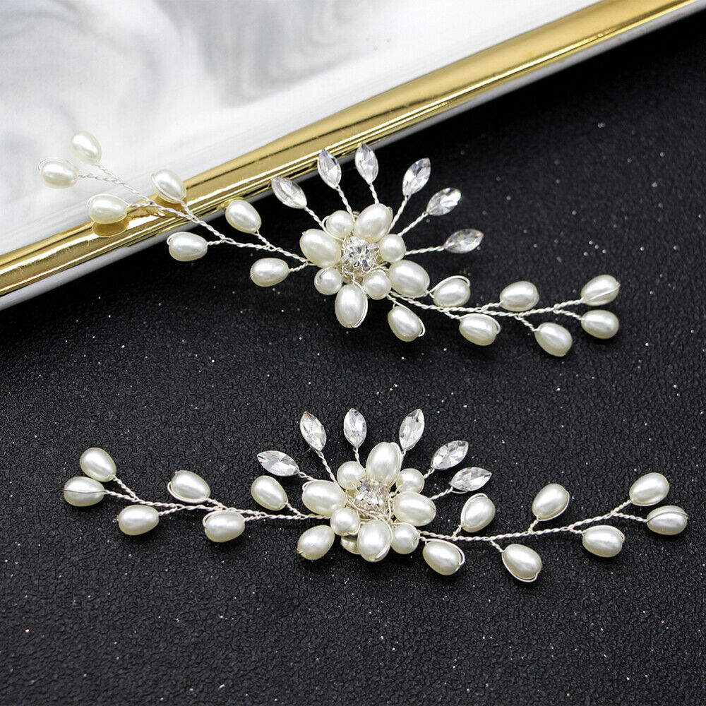 2PCS Pearl Shoe Buckles Bridal Fashion Crystal Shoe Buckles for Party