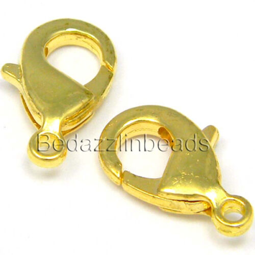 10 Lobster Claw Clasps 15mm Long With Lever /& Closed Loop Plated Brass Metal
