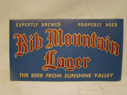 1930s RIB MOUNTAIN LAGER BEER POSTER//SIGN WAUSAU WI WISCONSIN 1940s BEER BAR PUB