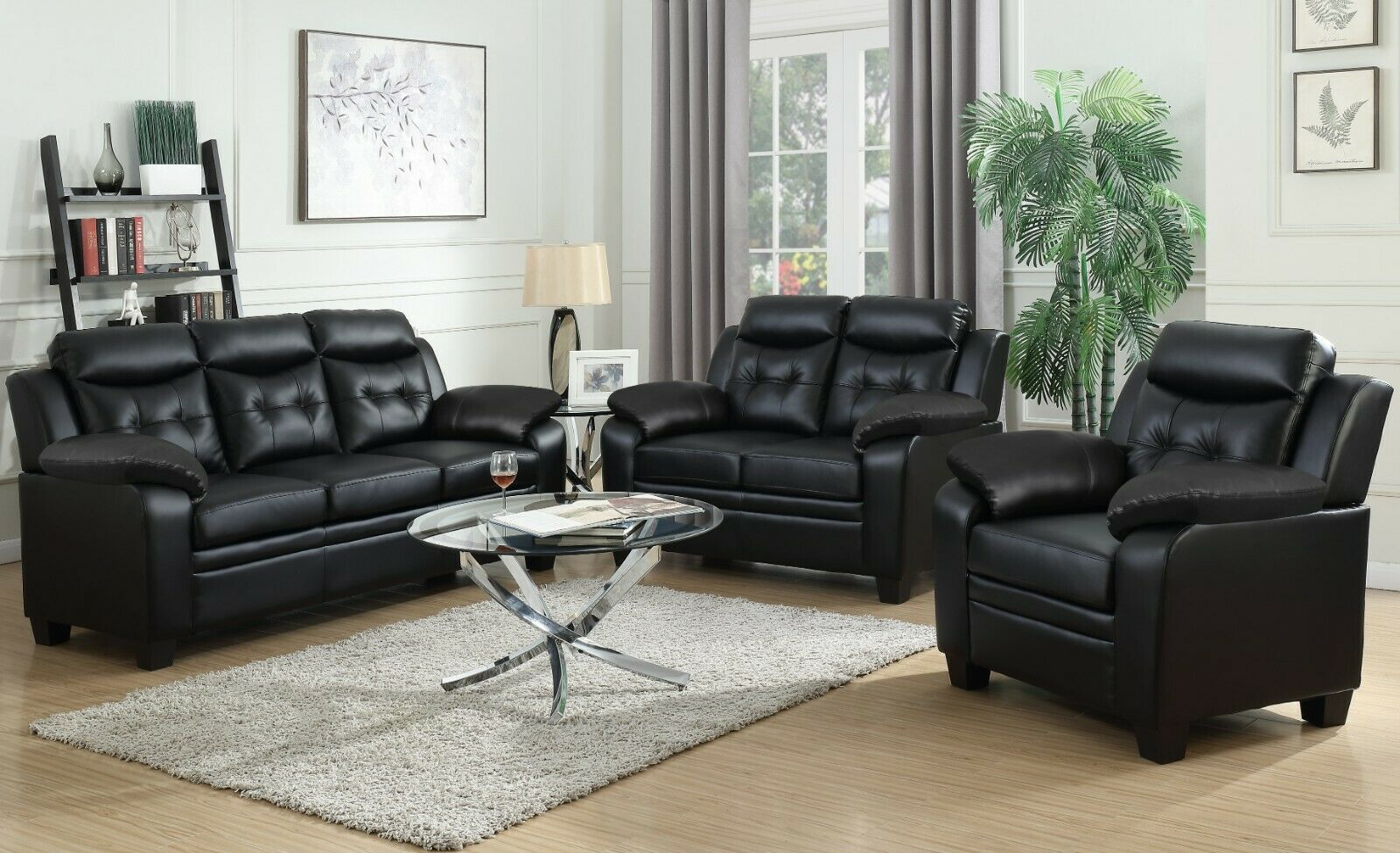 Modern Casual 3 Piece Sofa Loveseat Chair Living Room Set Black Faux Leather