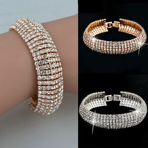 Fashion-Charm-Women-039-s-Crystal-Rhinestone-Cuff-Bracelet-Bangle-Jewelry-Gift