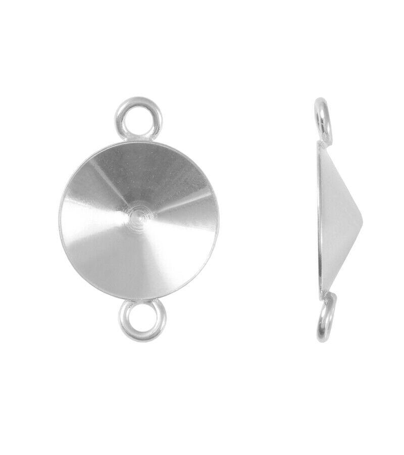 Sterling Sterling Sterling Silber Verbinder mit 2 Schleife für 1122 Rivoli Kristalle  viel Größen 34e008