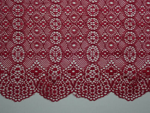 """3 METRES Deep Cherry Red Stretch Lace Trim 7.25/""""//18cm TOP SELLER"""