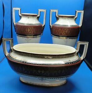 garniture de cheminée en céramique Boch Frères La Louvière 3 pièces art déco