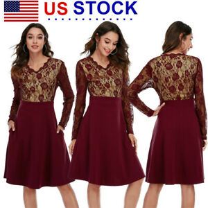 Womens Lace Long Sleeve Midi Dress V-Neck Cocktail Evening Casual Party Dresses