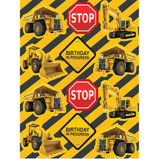 CONSTRUCTION Zone STICKERS [4 Sheets] Digger Birthday Party Supplies Favors