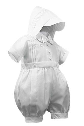 New Infant Boy Toddler Plain Short Romper 4 Christening Baptism White 0M-30M
