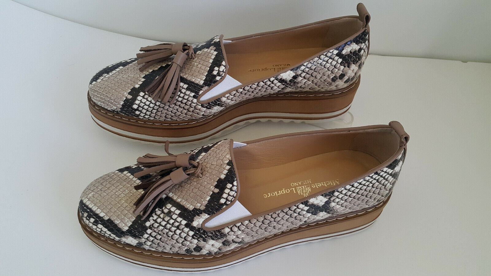 Michele Lapriore  Phyton Printed  Leather Cassidy Sneakers Sz Eur 39 Us 9 ITALY