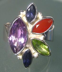 925-silver-multi-stone-cocktail-cut-gemstones-ring-UK-L-to-M-US-6-to-6-5