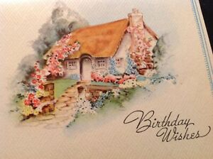 867-Gorgeous-Vintage-40s-Birthday-Greeting-Card-ENGLISH-COTTAGE-Sunshine-UNUSE