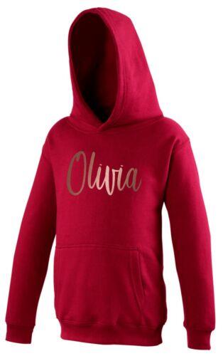 Girls Personalised Rose Gold Name Hoodie 1-13 yrs Customised Printed Kids Hooded