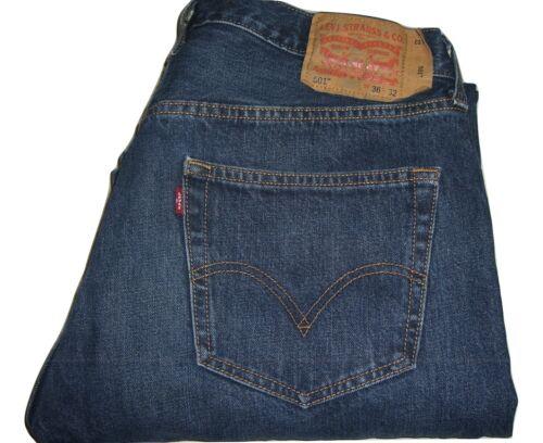 Mens Levi's 501 Dark Blue Denim Jeans W36 L32 Stra