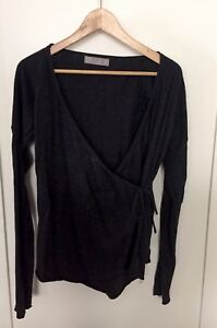 ZARA-Women-039-s-Charcoal-Gray-Cotton-Angora-Wrap-Long-Sleeve-Sweater-Size-M