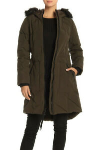 Guess Faux jas maat olijfgroen Women's media Mixed Parka Fur L280 Trim Hooded CeQrxdBWo