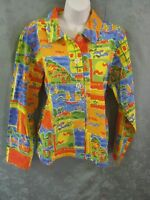 Coldwater Creek Shirt Size Large 100% Cotton Bright Print Summer By The Bay