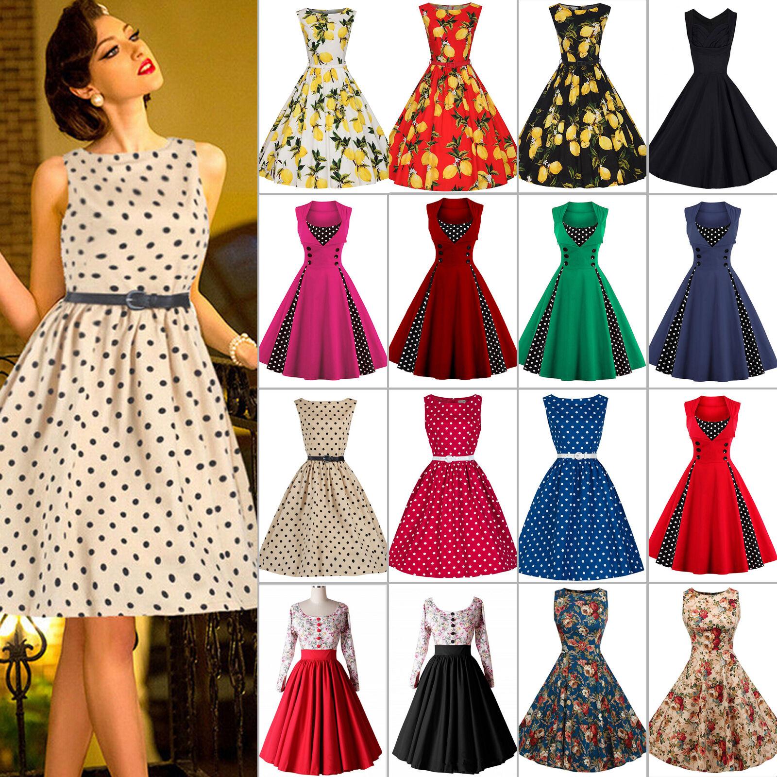 Damen Retro 50er Rockabilly Kleider Petticoat Party Abendkleid ...