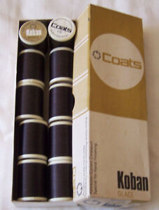 Coats-Koban-Glace-Quality-Corespun-Brown-Thread-Box-of-10-reels-x-500m-75-count