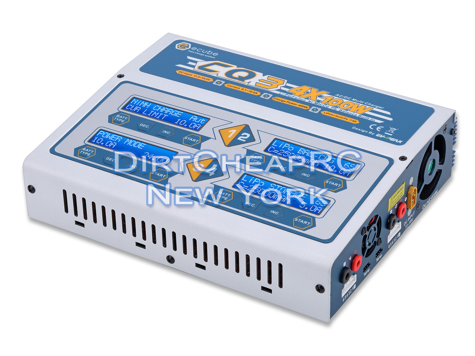 EV-Peak CQ3 Quad 4 Port 10 amperios 400 vatios AC DC Cargador Batería Lipo lihv HRC44167