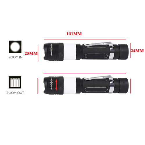 UK Zoomable Torch T6LED 50000LM With Camping Lamp Rechargeable Flashlight 2 in 1
