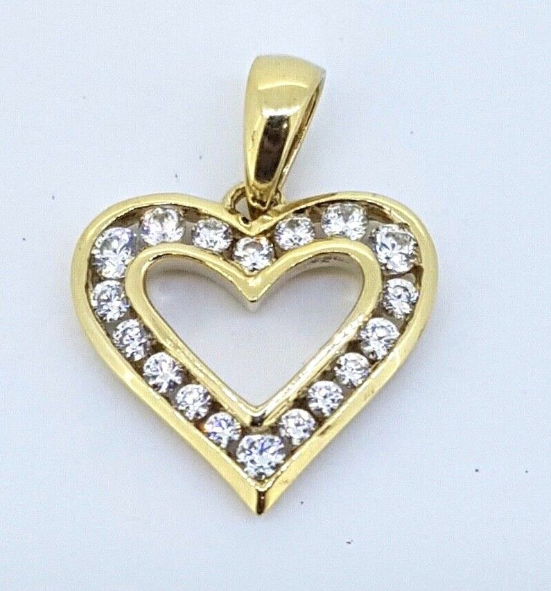 9k Open Heart Pendant channel set with CZ's 375 yellow gold