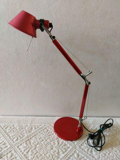 Artemide Tolomeo Micro Lampada da Tavolo Rosso,PERFETTE condizioni, modernariato