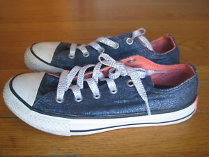 Details about Converse All Star Oxford Double Tongue SNEAKERS silver pink navy blue sparkle 2