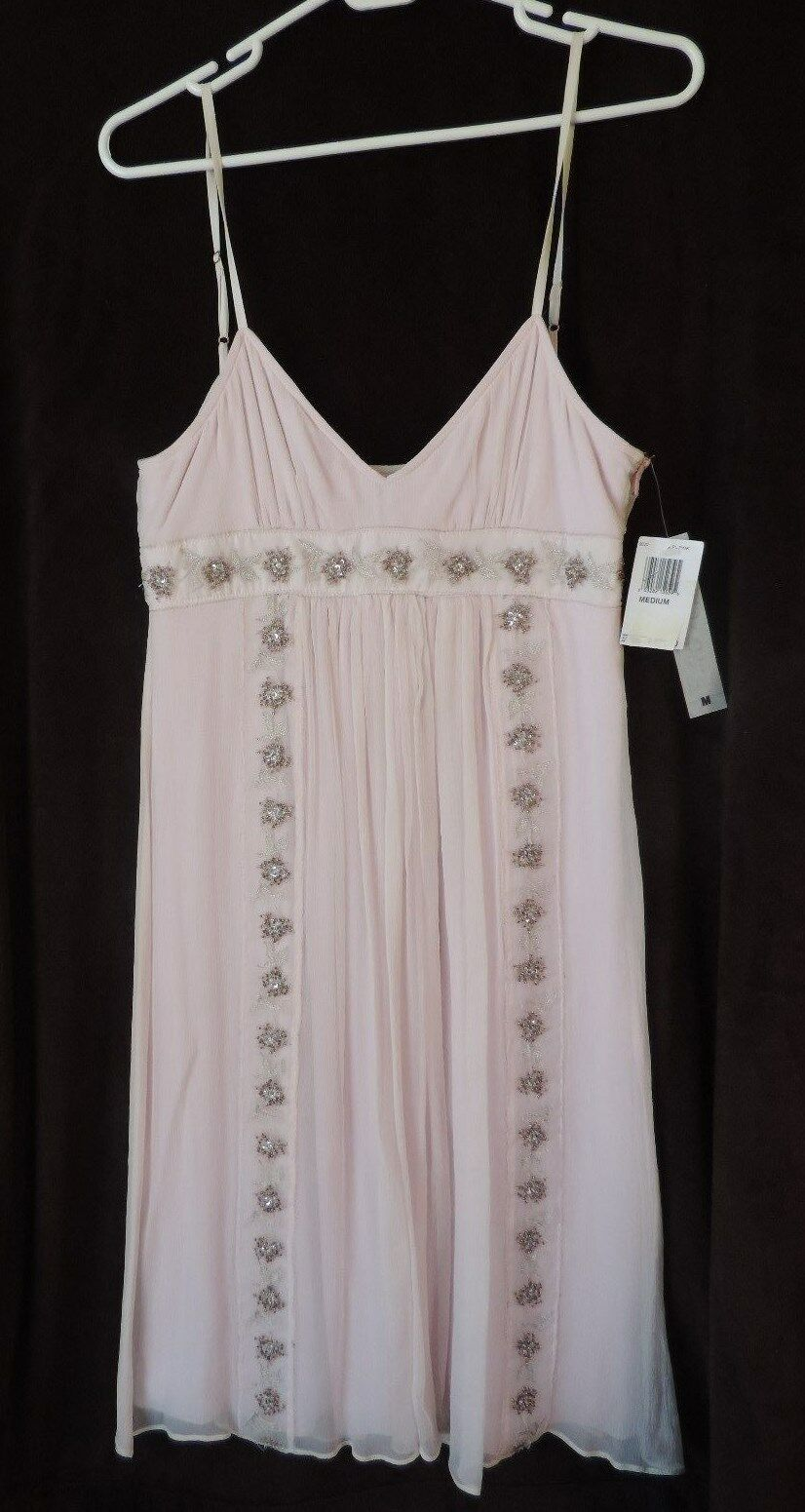 NWT Maria white black Pale Pink Empire Embroidered Silk Dress Bloomingdale's M