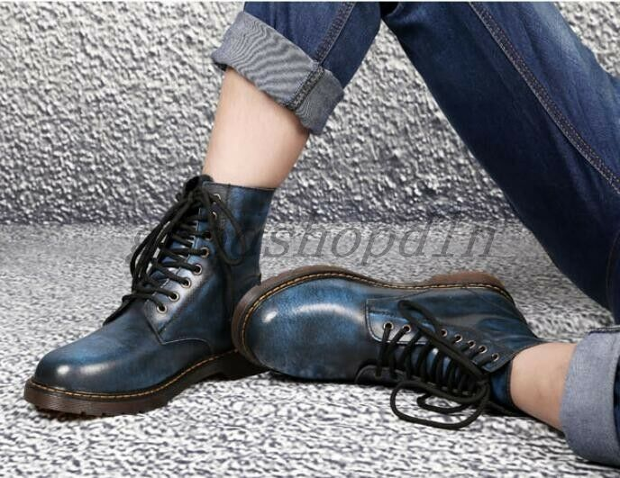 Mens Retro Lace Up Oxford British Motorcycle Biker Military Ankle Boots shoes SZ