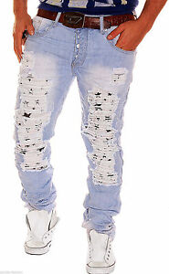 Herren-Jeans-Chino-Hose-Risse-Chinohose-Cargo-Destroyed-Risse-Riss-Clubwear-NEU