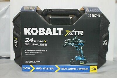 """*NEW* Kobalt XTR 24v  1//2/"""" Brushless Cordless Hammer Drill Kit 1518741"""