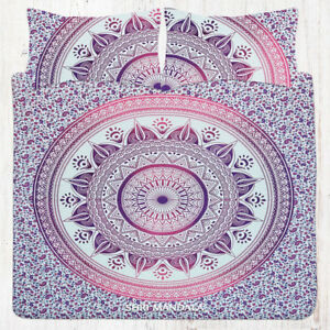 Pink Purple Lotus Boho Mandala KING Size Bedding Bedsheet Set Pillow Covers
