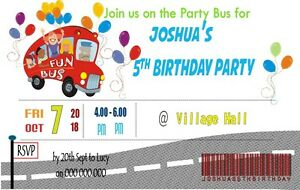 10 Personalised Children S Party Bus Ticket Invites Invitations W