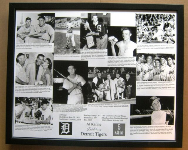 The Al Kaline Collection 16 x 20 photo collage Framed - photos from 1953 to 1968