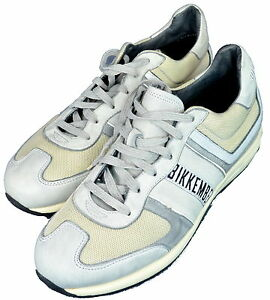 Scarpe Uomo Nero/Crema/Grogio Pelle e Tessuto Bikkembergs Shoes Men Black/Cream/