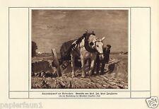 Fuhrwerk am Niederrhein Kunstdruck von 1912 Junghanns * Wien Pferd Bauer Wagen -