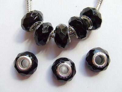 4pz  perline in Acrylic  e argento15x9mm color nero
