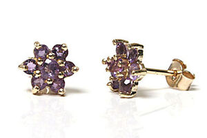 9ct-Gold-Amethyst-cluster-stud-Earrings-Made-in-UK-Gift-Boxed