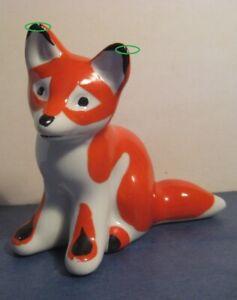 Red-fox-cub-USSR-russian-Porcelain-figurine-Verbilki-Dmitrov-Vintage-3088u