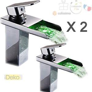 Détails sur 2 X LED Robinet Lavabo Mitigeur Salle de bain Évier Cascade