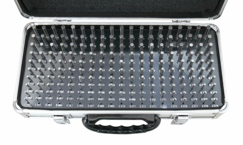 """190 Pc M1 0.061/"""" to 0.250/"""" Steel Plug Pin Gages Reliable Aluminum Box Minus -"""