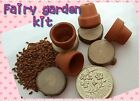 FAIRY GARDEN KIT mini terracotta pot set WOODEN STEPPING STONES , fairy door,